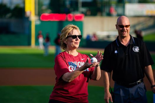 Sauder brings a mean softball pitch to her long list of administrative credentials...