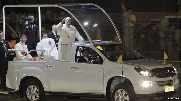Pope Francis arriving in Manila...