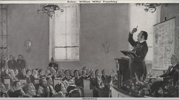 Artistic depiction of William Miller preaching about the end of the world...