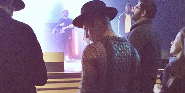 Justin Bieber at a Hillsong NYC church service