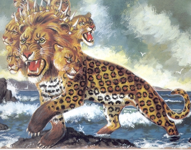 Students are drawing costume inspiration from Revelation beast illustrations like this one...