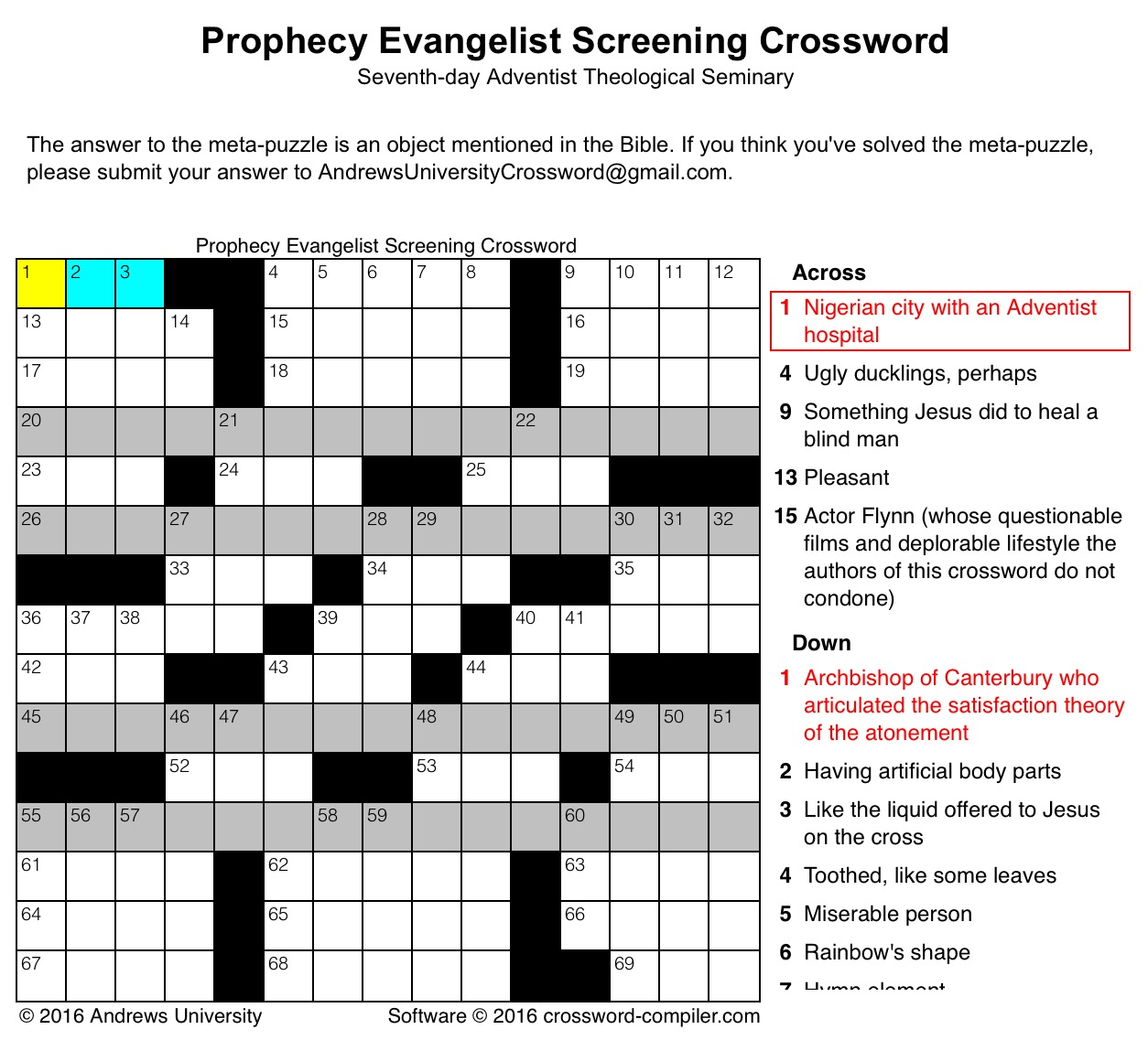 Andrews seminary to identify potential prophecy evangelists with this crossword