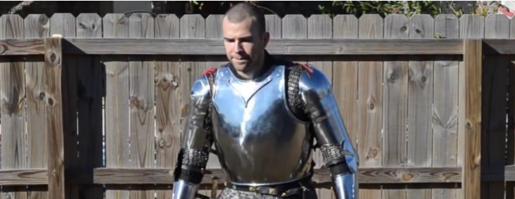 Literalist Adventist clad in full armor of God not wearing pants